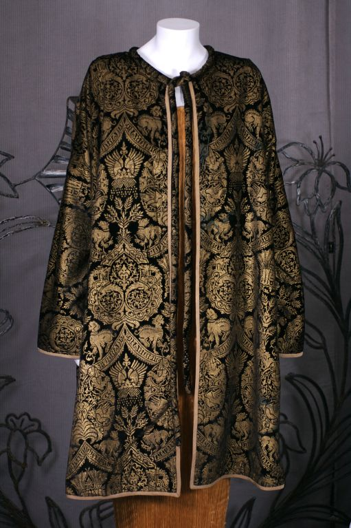 Mariano Fortuny Black  Stencilled Velvet Long Coat 2