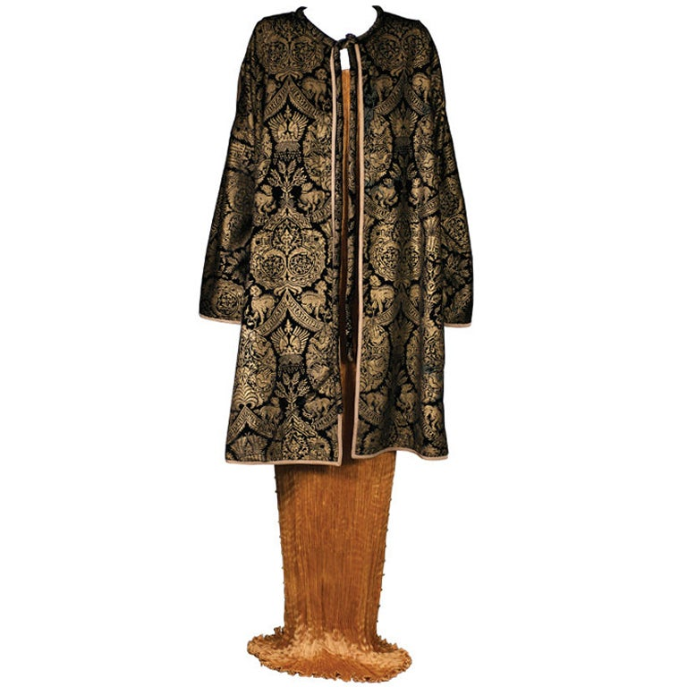 Mariano Fortuny Black  Stencilled Velvet Long Coat