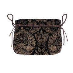 Mariano Fortuny Rare Black Stencilled Velvet Drawstring Bag