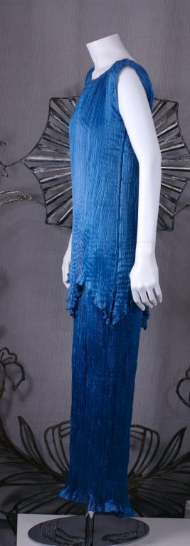 Women's Mariano Fortuny Cobalt Blue Peplos Gown For Sale