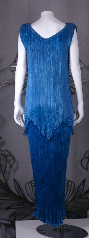 Mariano Fortuny Cobalt Blue Peplos Gown For Sale 2