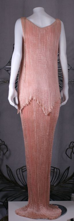 Mariano Fortuny Shell Pink Silk Peplos For Sale 3