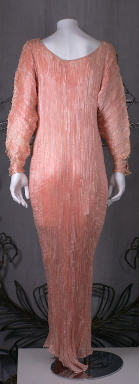Mariano Fortuny   Rare Shell Pink Long Sleeved Delphos Gown For Sale 1