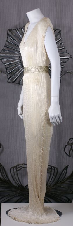 Mariano Fortuny Off White Silk Delphos Gown 3