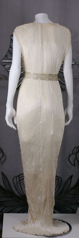 Mariano Fortuny Off White Silk Delphos Gown 5