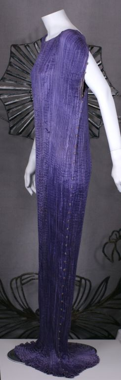 Mariano Fortuny  Amethyst  Delphos Gown In Excellent Condition For Sale In Riverdale, NY