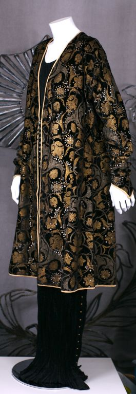 Mariano Fortuny Black Stencilled Velvet Persian Style Coat 3