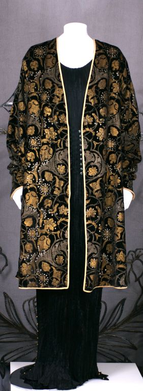 Mariano Fortuny Black Stencilled Velvet Persian Style Coat 8