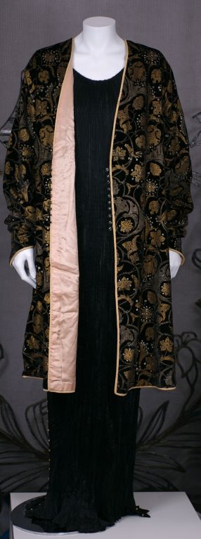 Mariano Fortuny Black Stencilled Velvet Persian Style Coat 9
