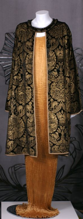Brown Mariano Fortuny Black  Stencilled Velvet Long Coat For Sale