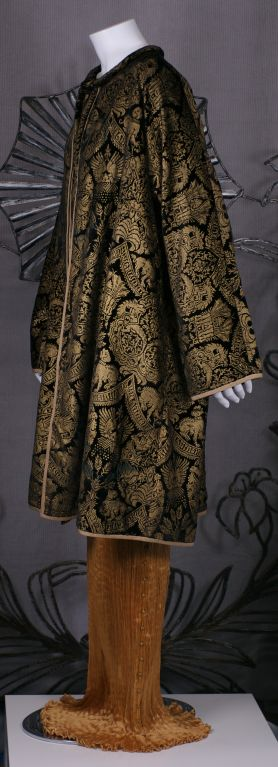 Mariano Fortuny Black  Stencilled Velvet Long Coat 4