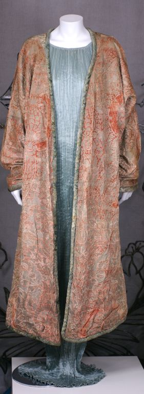 Brown Mariano Fortuny Pink Coral Stencilled Velvet Long Coat For Sale