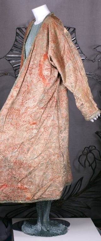 Women's Mariano Fortuny Pink Coral Stencilled Velvet Long Coat For Sale