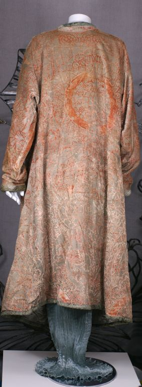 Mariano Fortuny Pink Coral Stencilled Velvet Long Coat For Sale 2