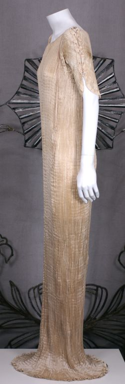 Brown Mariano Fortuny Light Cafe au Lait Short Sleeved Delphos Gown For Sale