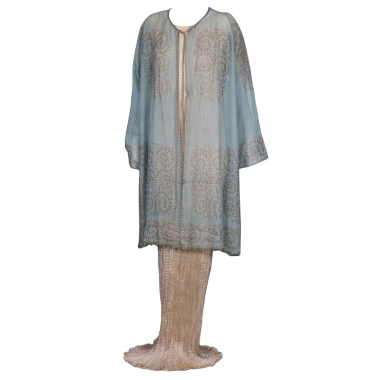 Mariano Fortuny Aquamarine Gauze Stencilled  Coat For Sale