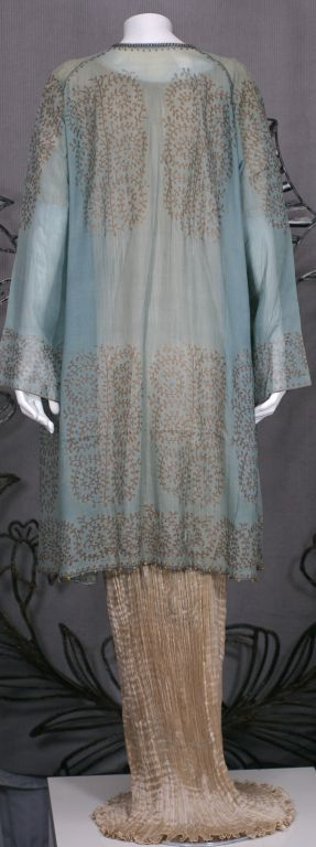 Gray Mariano Fortuny Aquamarine Gauze Stencilled  Coat For Sale