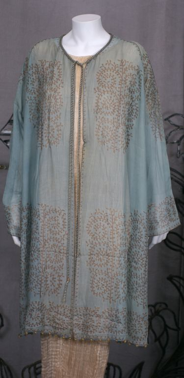 Women's Mariano Fortuny Aquamarine Gauze Stencilled  Coat For Sale