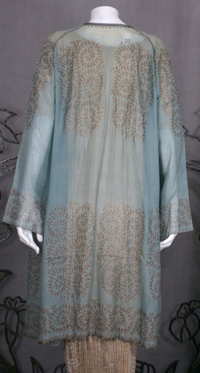 Mariano Fortuny Aquamarine Gauze Stencilled  Coat For Sale 1