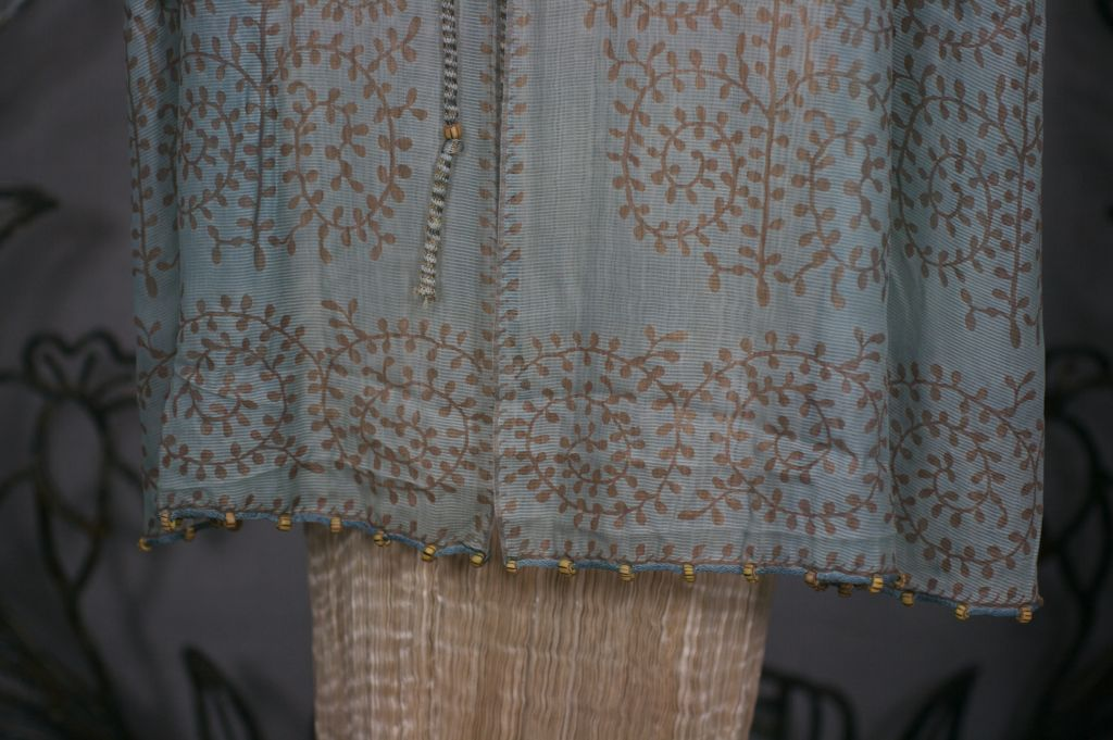 Mariano Fortuny Aquamarine Gauze Stencilled  Coat For Sale 2