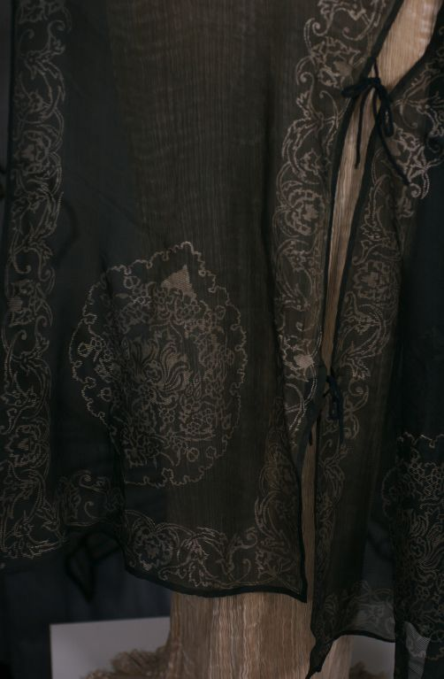 Mariano Fortuny Black Gauze Stencilled Short Coat For Sale 2
