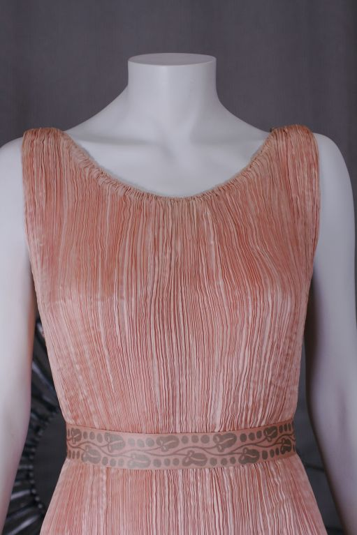 Brown Mariano Fortuny Shell Pink Silk Peplos For Sale