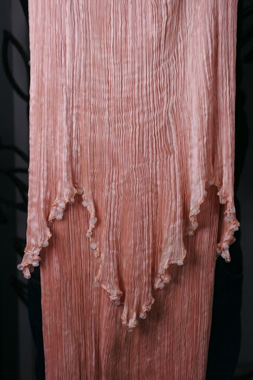 Mariano Fortuny Shell Pink Silk Peplos For Sale 4