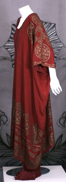 Mariano Fortuny Burgundy Stencilled Crepe Coat 2