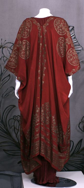 Mariano Fortuny Burgundy Stencilled Crepe Coat 3