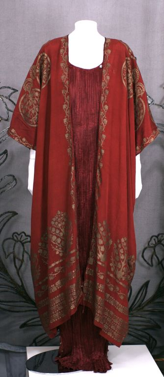 Mariano Fortuny Burgundy Stencilled Crepe Coat 4