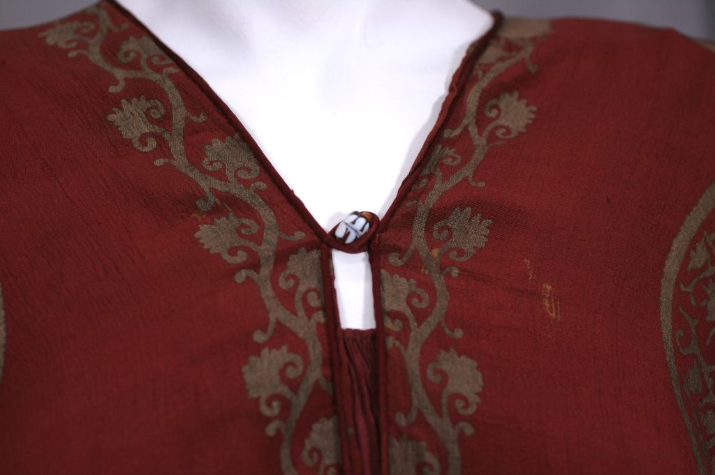 Mariano Fortuny Burgundy Stencilled Crepe Coat 5
