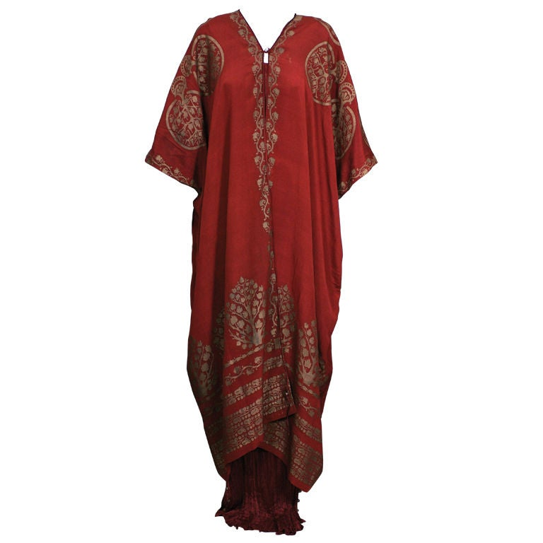 Mariano Fortuny Burgundy Stencilled Crepe Coat