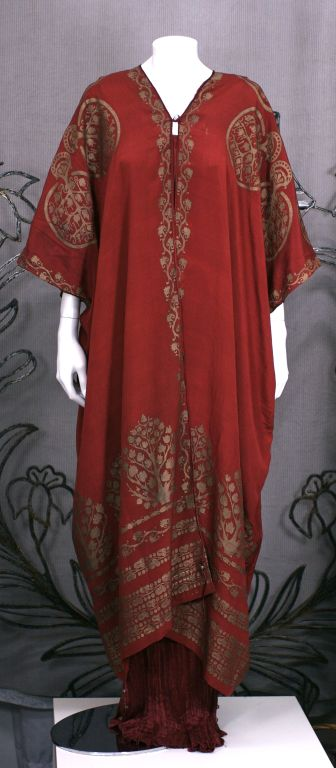 Mariano Fortuny Burgundy Stencilled Crepe Coat 9
