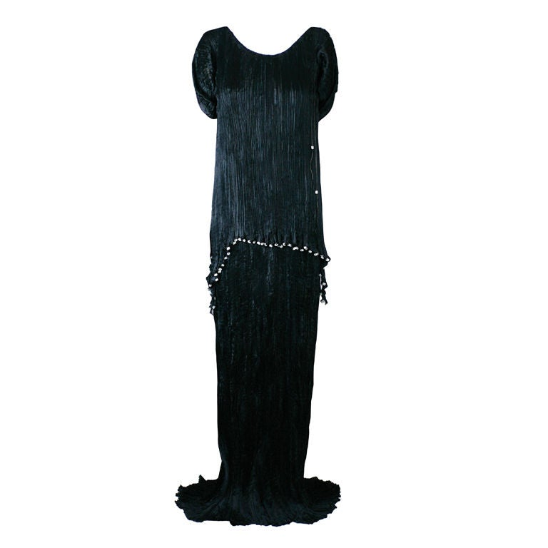 Mariano Fortuny Black Silk Peplos Gown