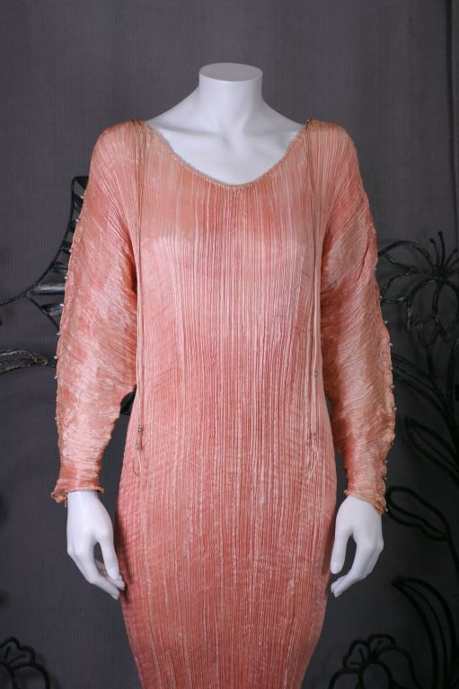 Mariano Fortuny   Rare Shell Pink Long Sleeved Delphos Gown 2