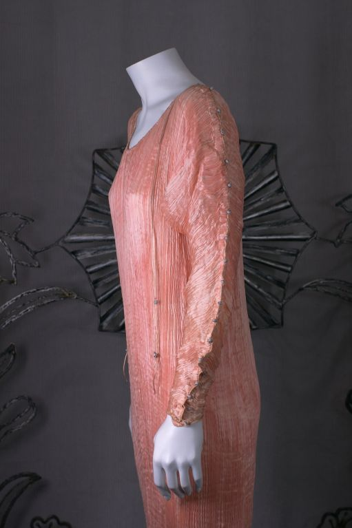 Brown Mariano Fortuny   Rare Shell Pink Long Sleeved Delphos Gown For Sale