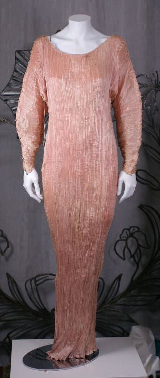 Mariano Fortuny   Rare Shell Pink Long Sleeved Delphos Gown For Sale 5