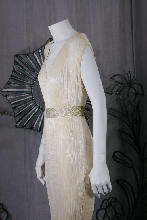Mariano Fortuny Off White Silk Delphos Gown 4