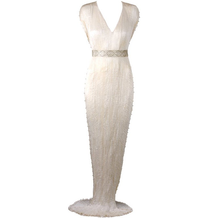 Mariano Fortuny Off White Silk Delphos Gown