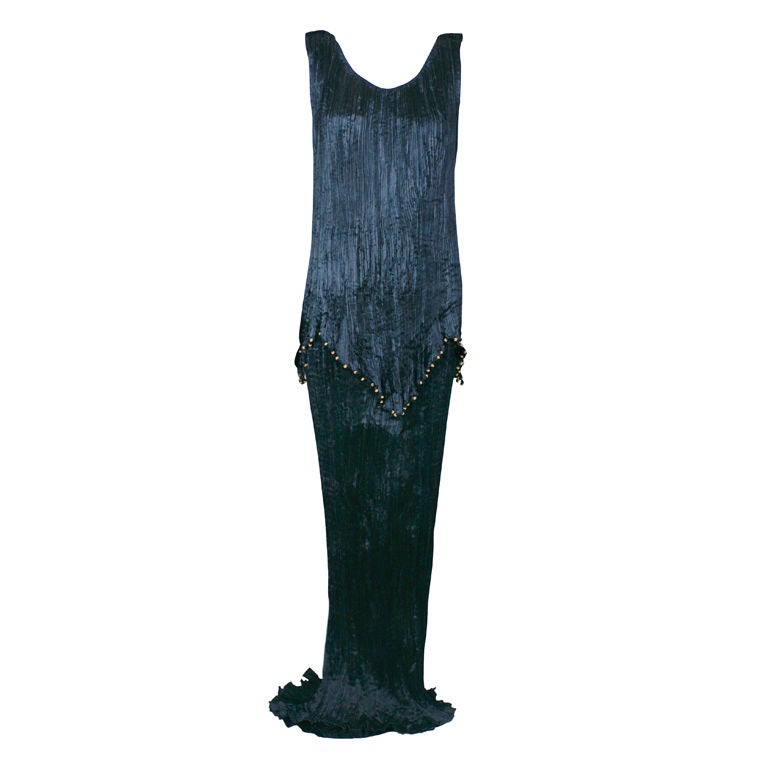 Mariano Fortuny Black Peplos Gown