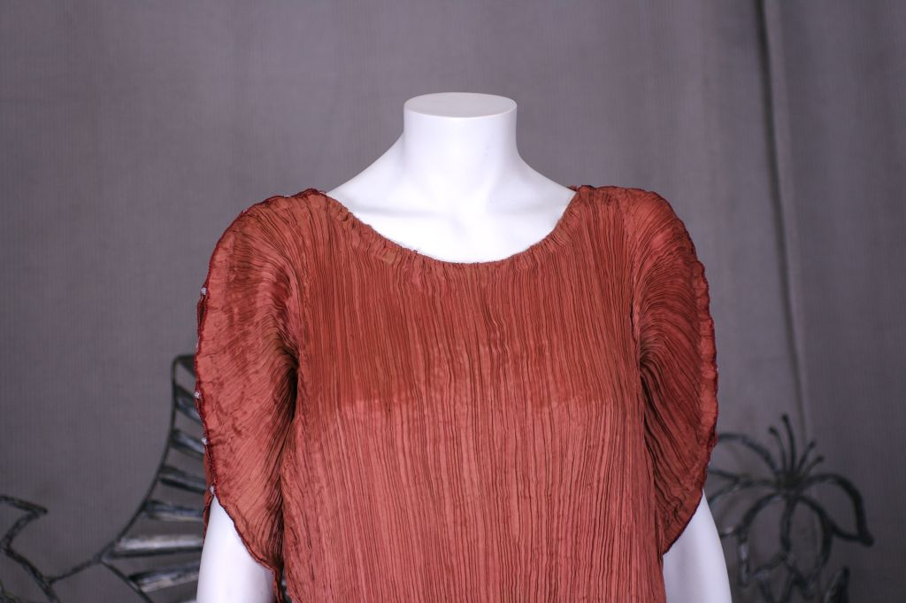 Brown Mariano  Fortuny Sienna Peplos Gown For Sale