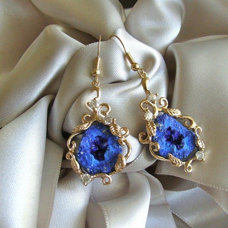 Blueberry Azurite Geodes Diamonds  Gold Earrings 2
