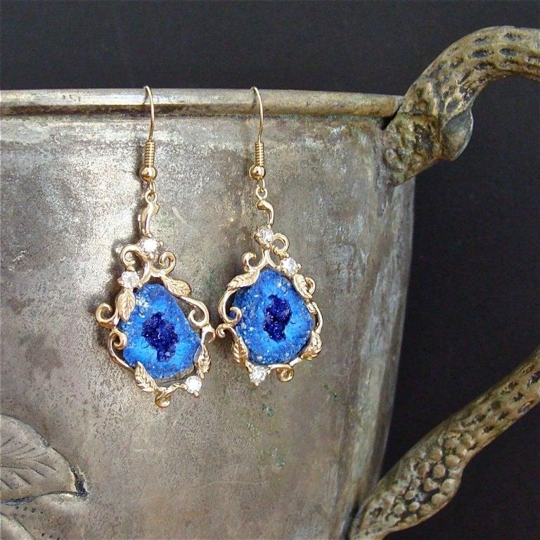 Blueberry Azurite Geodes Diamonds  Gold Earrings 3