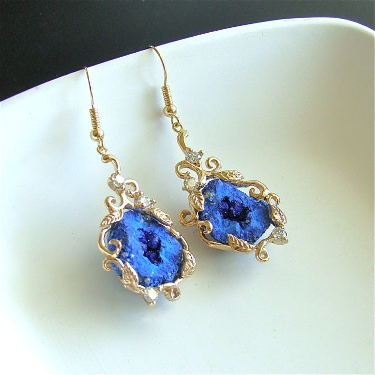 Blueberry Azurite Geodes Diamonds  Gold Earrings 4