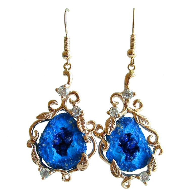 Blueberry Azurite Geodes Diamonds  Gold Earrings 1
