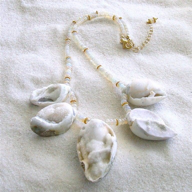 Artisan Fossilized Druzy Shells Ethiopian Opals - Zara Necklace For Sale