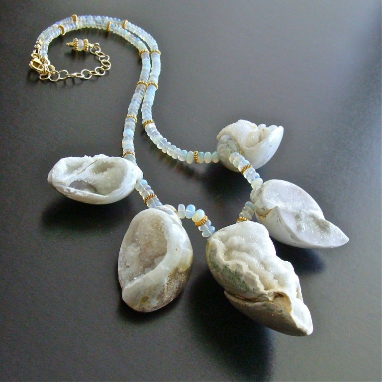 Fossilized Druzy Shells Ethiopian Opals - Zara Necklace In As new Condition For Sale In Scottsdale, AZ