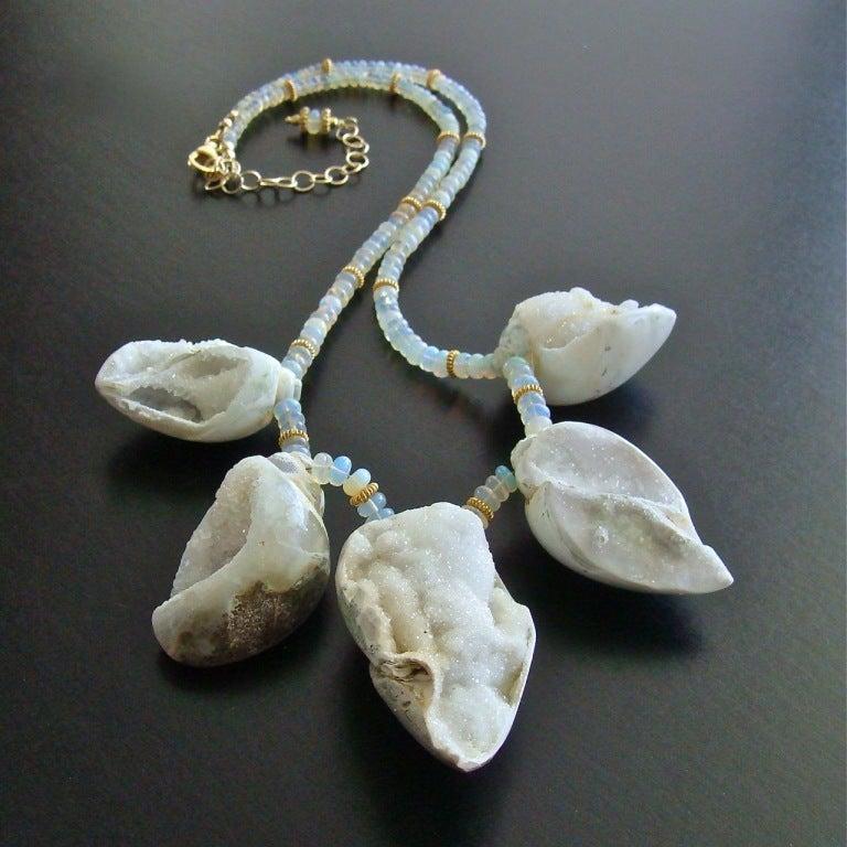 Women's Fossilized Druzy Shells Ethiopian Opals - Zara Necklace For Sale