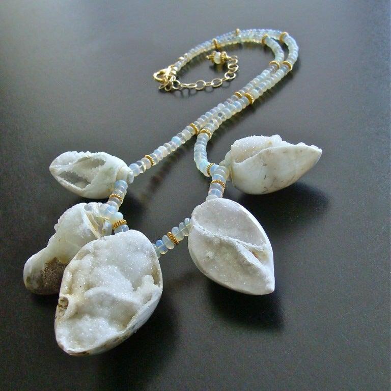 Fossilized Druzy Shells Ethiopian Opals - Zara Necklace For Sale 1