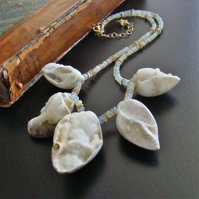 Fossilized Druzy Shells Ethiopian Opals - Zara Necklace For Sale 2